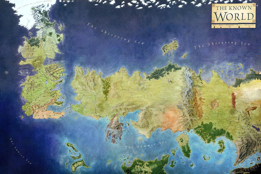 Game Of Thrones World Map Painting by Gianfranco Weiss