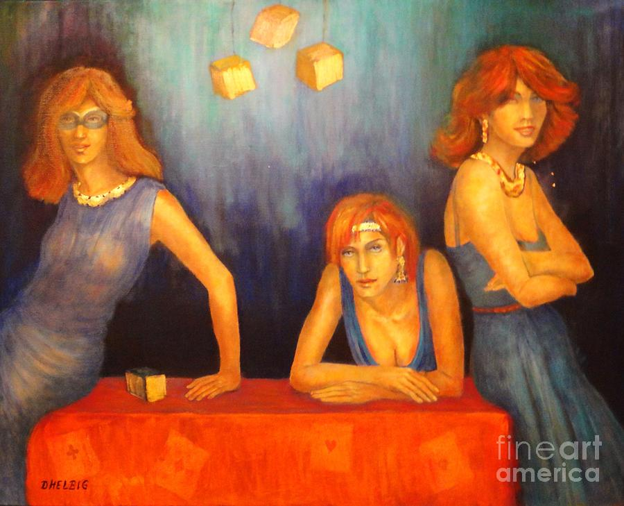Lady Painting Painting - Game Table  by Dagmar Helbig