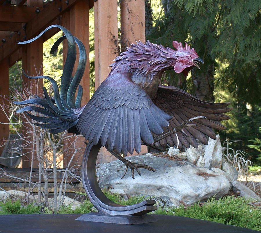 Fighting Gamecock Sculpture Sculpture By Mike Curtis
