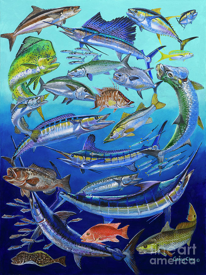 Gamefish Painting - Gamefish Collage In0031 by Carey Chen