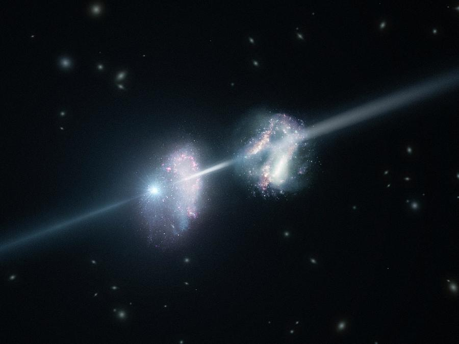 Gamma Ray Burst Photograph - Gamma-ray Burst And Galaxies by L. Calcada/european Southern Observatory/science Photo Library