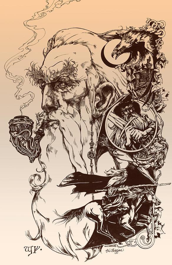 Wizard Drawing - gandalf- Tolkien appreciation by Derrick Higgins