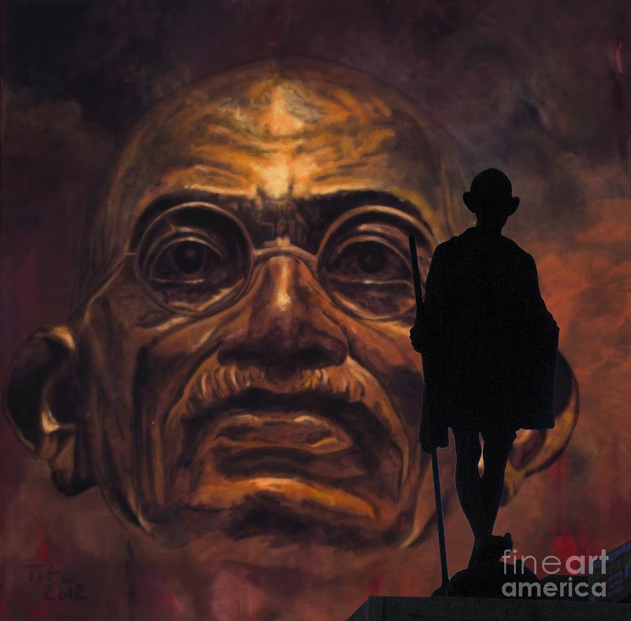 Gandhi Painting - Gandhi - The Walk by Richard Tito