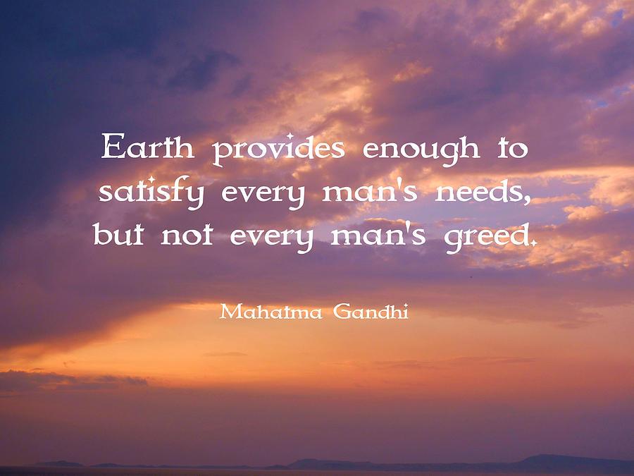 Mohandas Karamchand Gandhi Digital Art - Gandhi Wisdom Quote About Satisfaction by Quintus Wolf