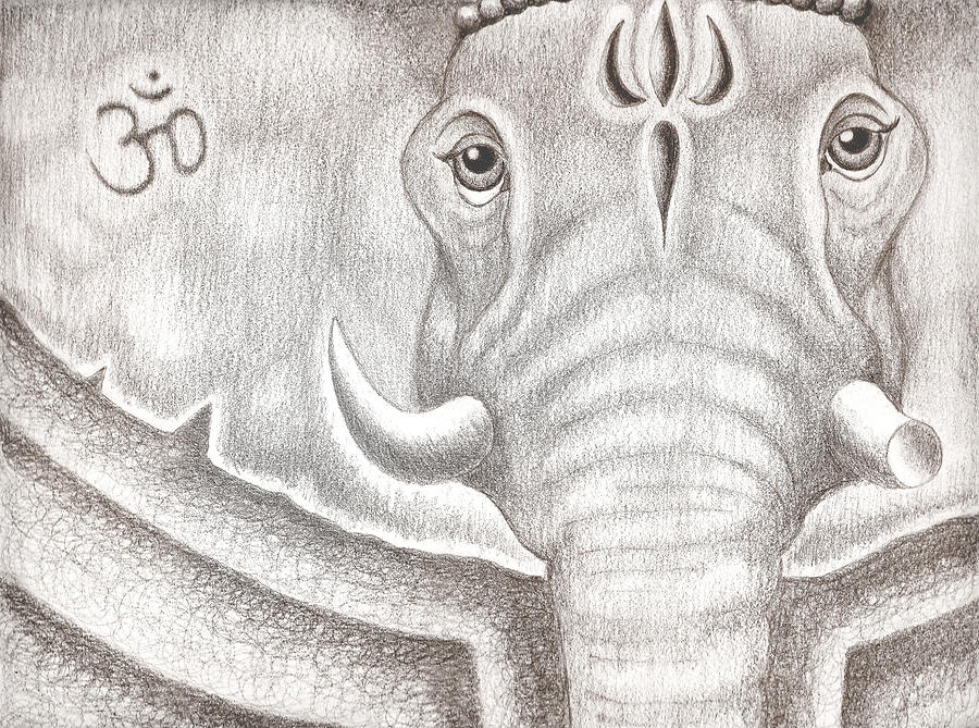 Ganesh Drawing - Ganesh by Adam Wood