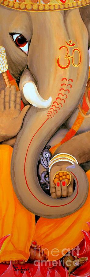 Elephant Painting - Ganesh by Ann Sokolovich