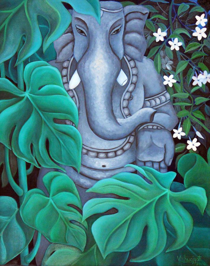 Ganesh Painting - Ganesh With Jasmine Flowers 2 by Vishwajyoti Mohrhoff