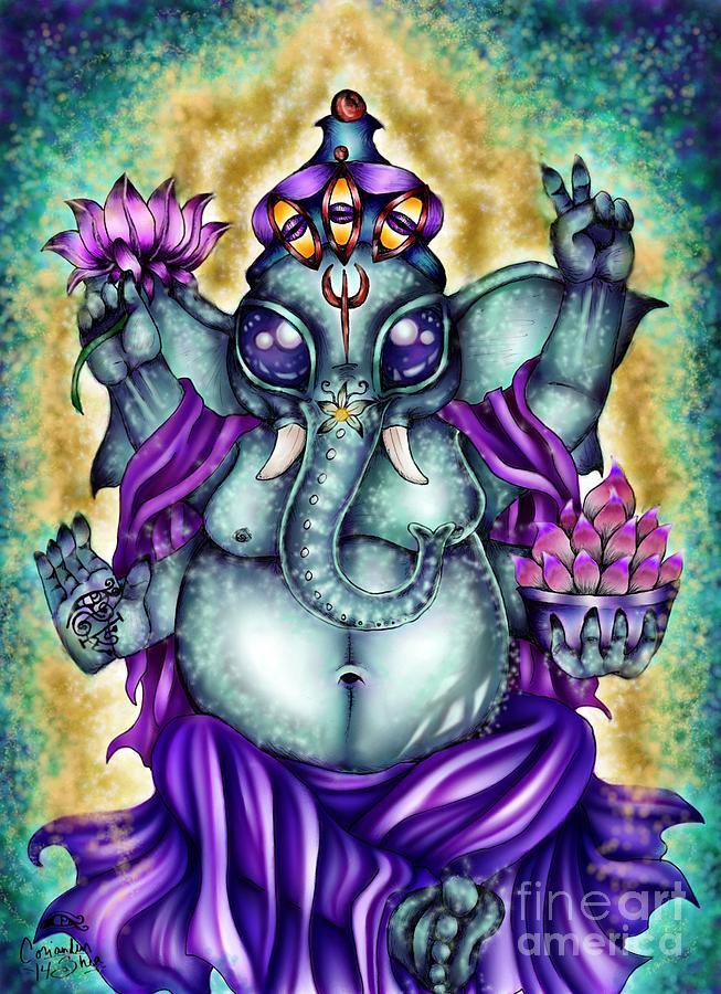 Ganesh Digital Art - Ganesha by Coriander  Shea