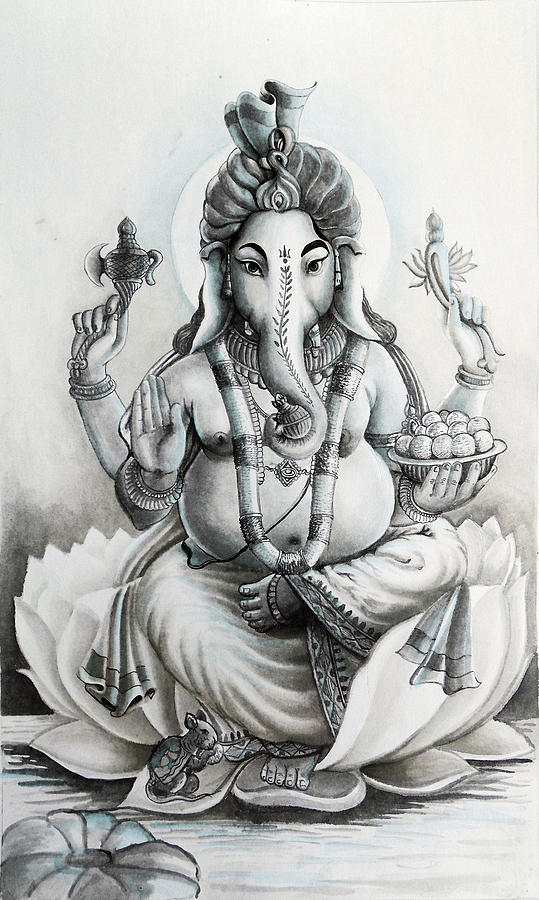 India painting ganesha hindu god black and white portrait by arun sivaprasad