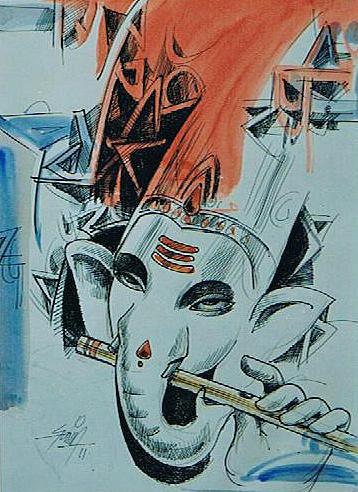 Ganapathi Painting - Ganesha Playing Flute by Ajay Kumar Samir