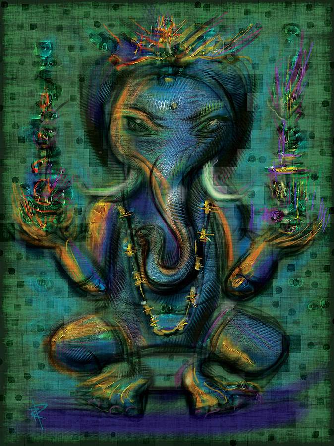 Remover Of Obstacles Mixed Media - Ganesha Too by Russell Pierce
