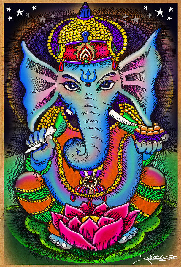 Ganesha With Lotus Flower Drawing By Julie Oakes