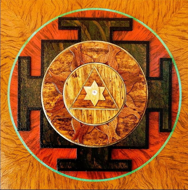 Yantra Painting - Ganesha Sacred 3d High Relief Artistically Crafted Wooden Yantra    23in X 23in by Peter Clemens