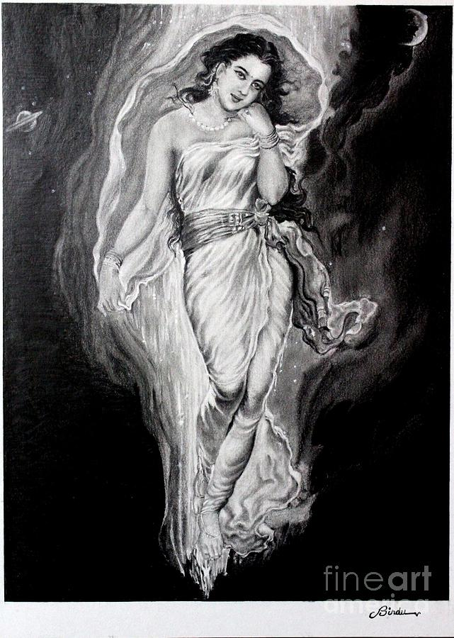Goddess Painting Drawing - Gangadevi  by Bindu Vulli