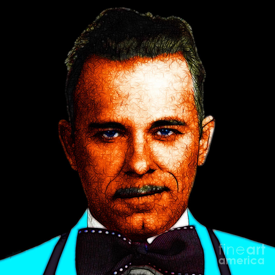 Gangnam Photograph - Gangman Style - John Dillinger 13225 - Black - Color Sketch Style by Wingsdomain Art and Photography