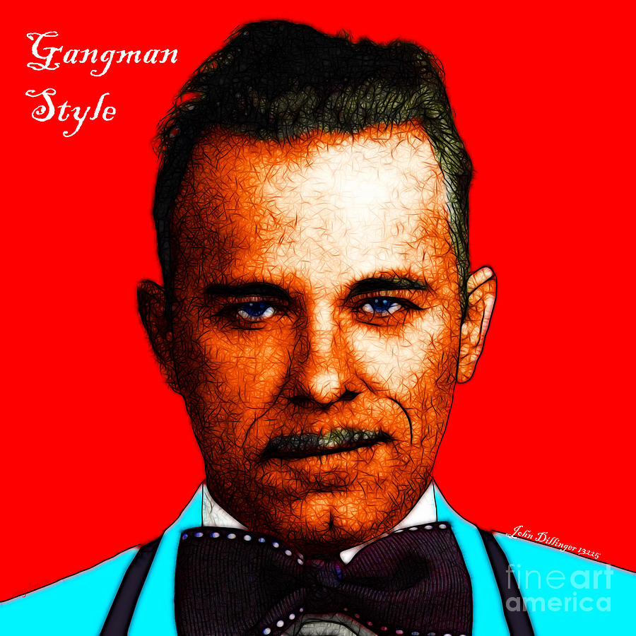Gangnam Photograph - Gangman Style - John Dillinger 13225 - Red - Color Sketch Style - With Text by Wingsdomain Art and Photography