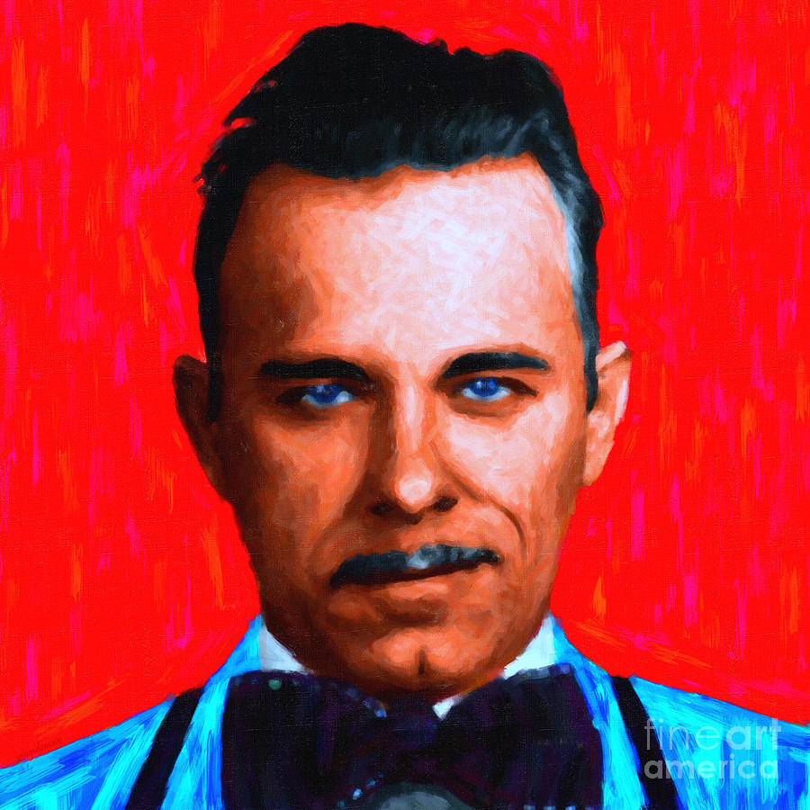 Gangnam Photograph - Gangman Style - John Dillinger 13225 - Red - Painterly by Wingsdomain Art and Photography