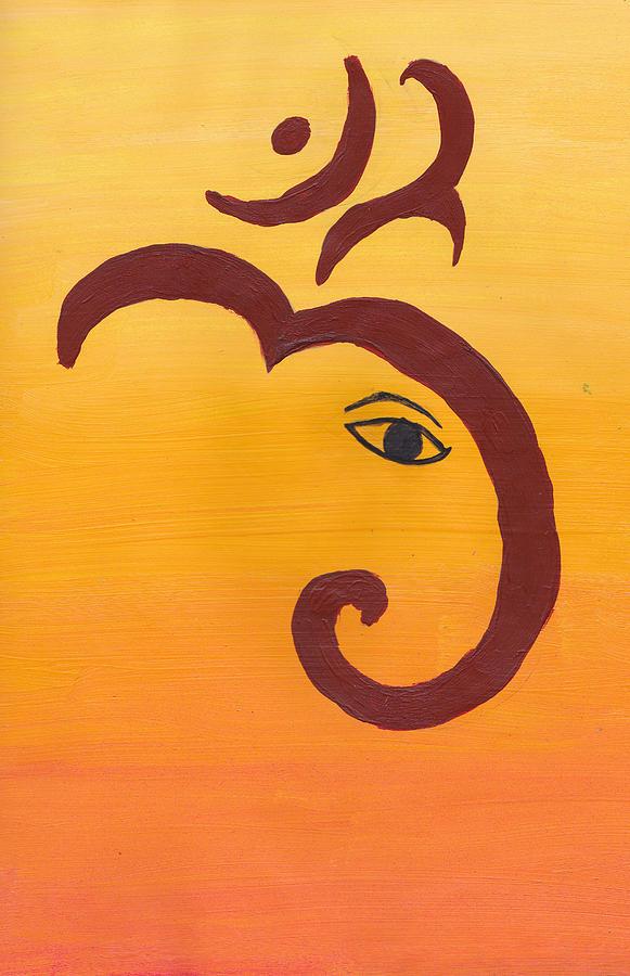 Ganpati Om Painting By Melissa Vijay Bharwani