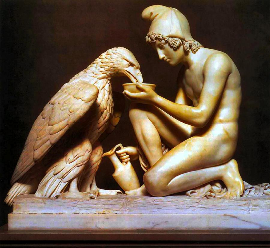 Zeus Painting - Ganymede Waters Zeus  by Berthel Thorvaldsen