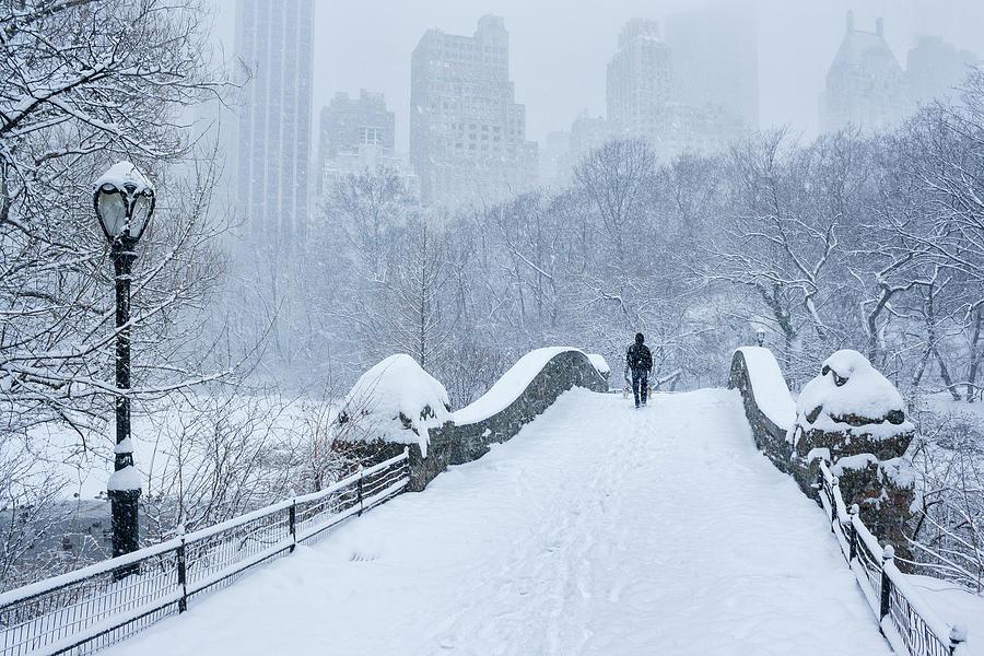 Gapstow Bridge Central Park Snowstorm Photograph by Matejphoto