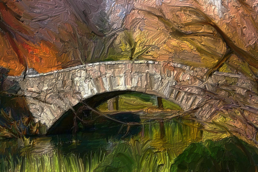 Gapstow Digital Art - Gapstow Bridge In Central Park by GCannon