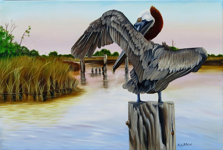 Birds Painting - Gar Lake Pelican 2 by Phyllis Beiser
