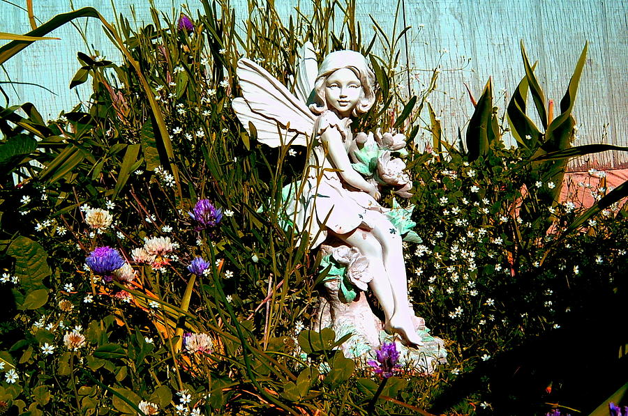 Angel Photograph - Garden Angel by Mavis Reid Nugent