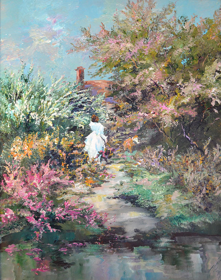 Lady In White Painting - Garden By The Water by Steven Nevada