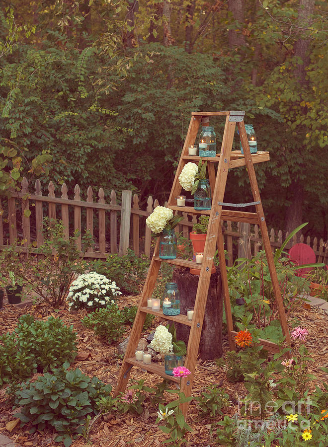 Ladder Photograph - Garden Decorations by Kay Pickens