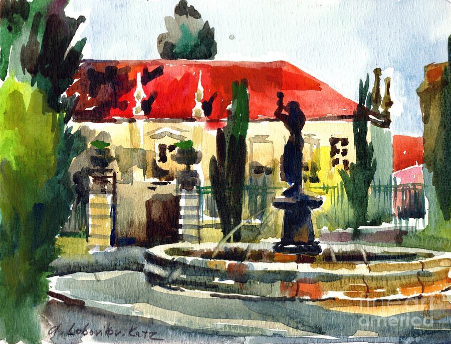 Garden Painting - Garden Do Torel Fountain In Lisbon by Anna Lobovikov-Katz