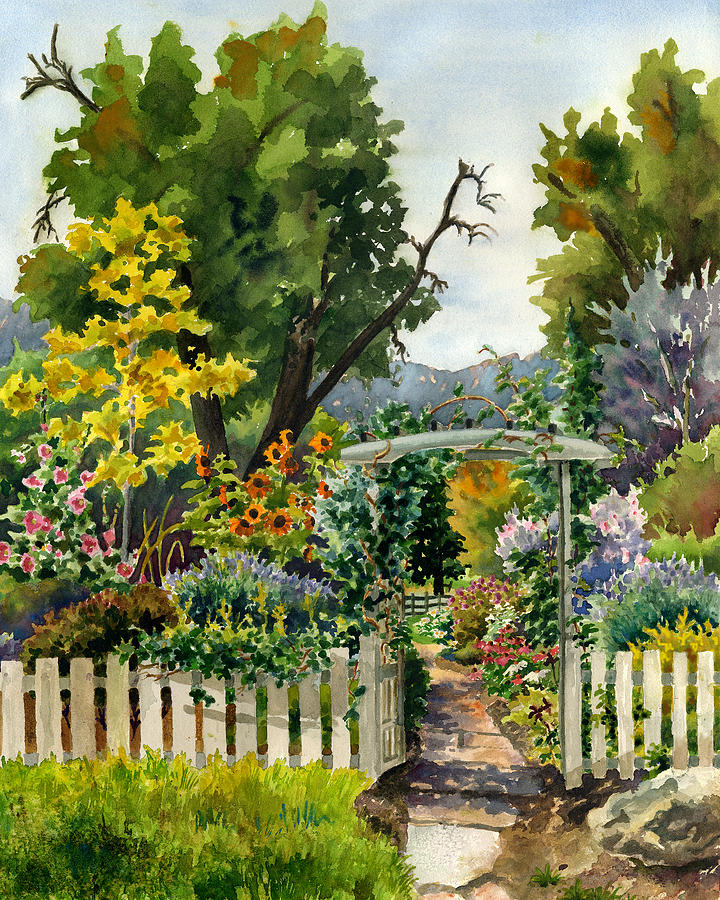 Garden Gate Painting by Anne Gifford