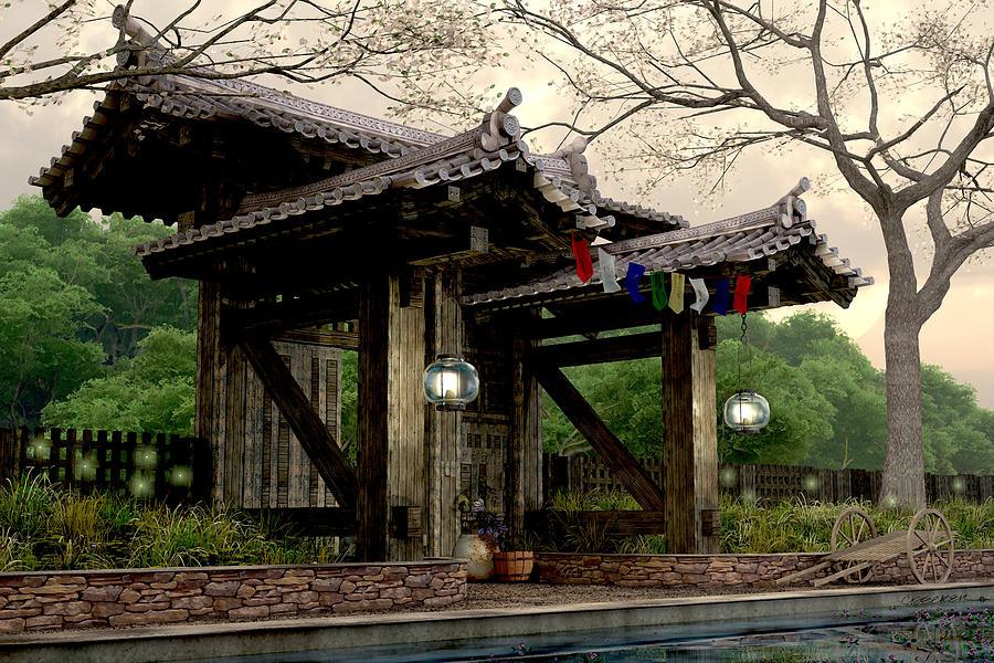 Japanese Garden Digital Art - Garden Gate by Cynthia Decker