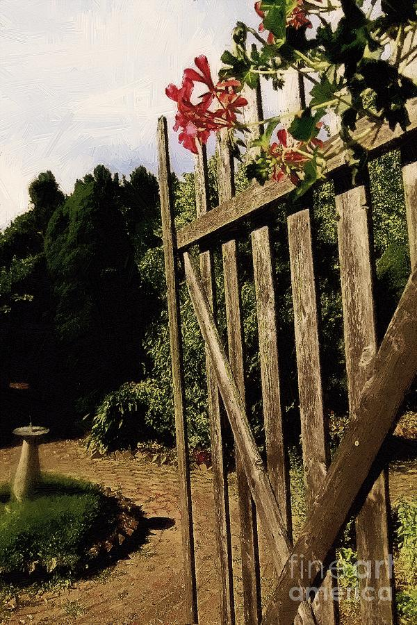 Cobblestones Painting - Garden Gate Welcome by RC DeWinter
