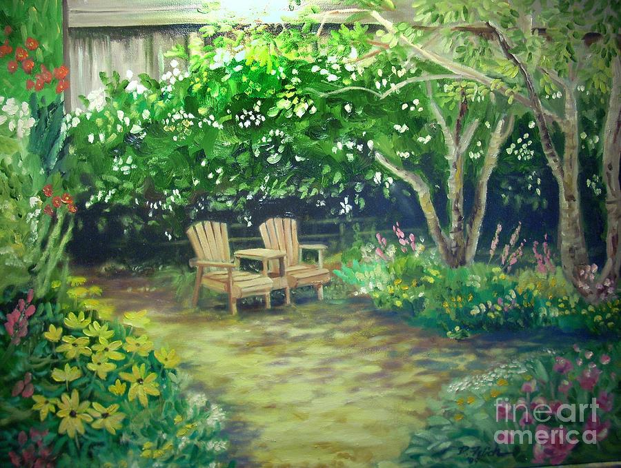 Garden Scene Landscape Painting - Garden In Cambria by Don Felich