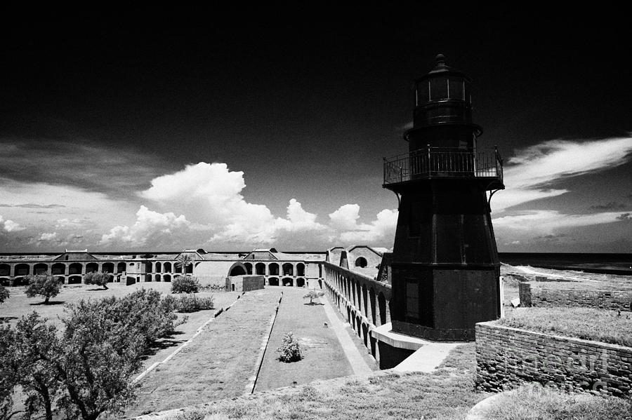 Garden Key Lighthouse Terreplein And Interior Soldiers Barracks On Fort  Jefferson Dry Tortugas Natio
