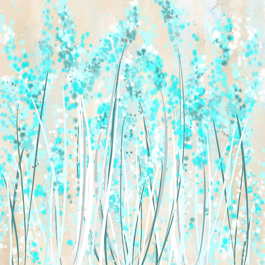 Garden Of Blues- Teal And Cream Art Painting