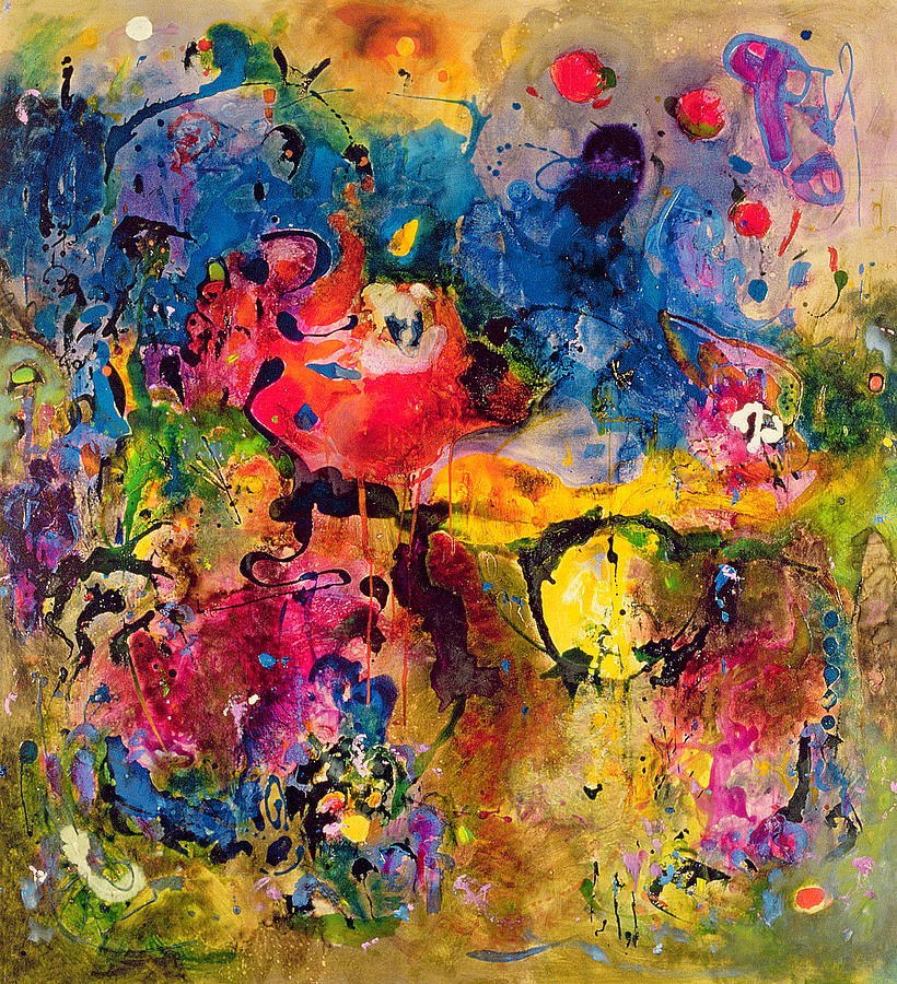 Abstract Painting - Garden Of Heavenly And Earthly Delights by Jane Deakin