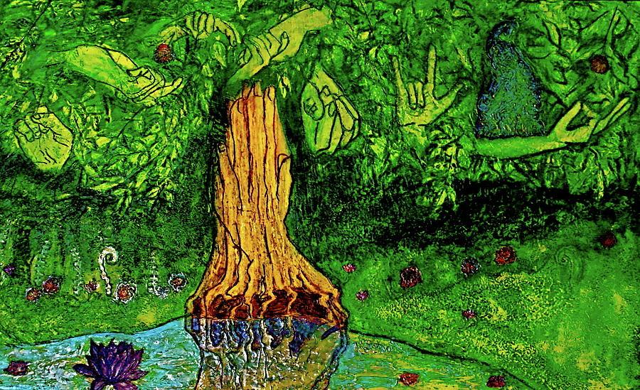 Eden Painting - Garden Of Intent Eden For Pandemonium by D Renee Wilson