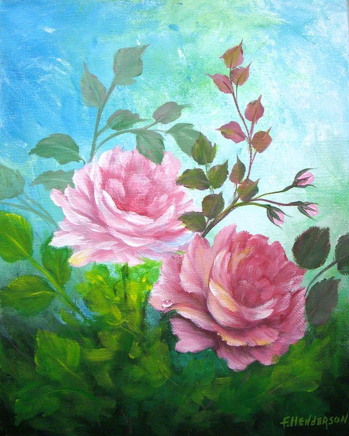 Garden Roses Painting - Garden Roses by Francine Henderson
