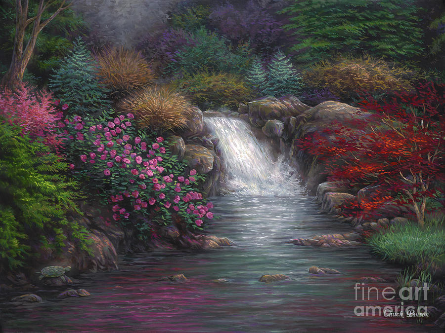Waterfall Painting - Garden Spring by Chuck Pinson