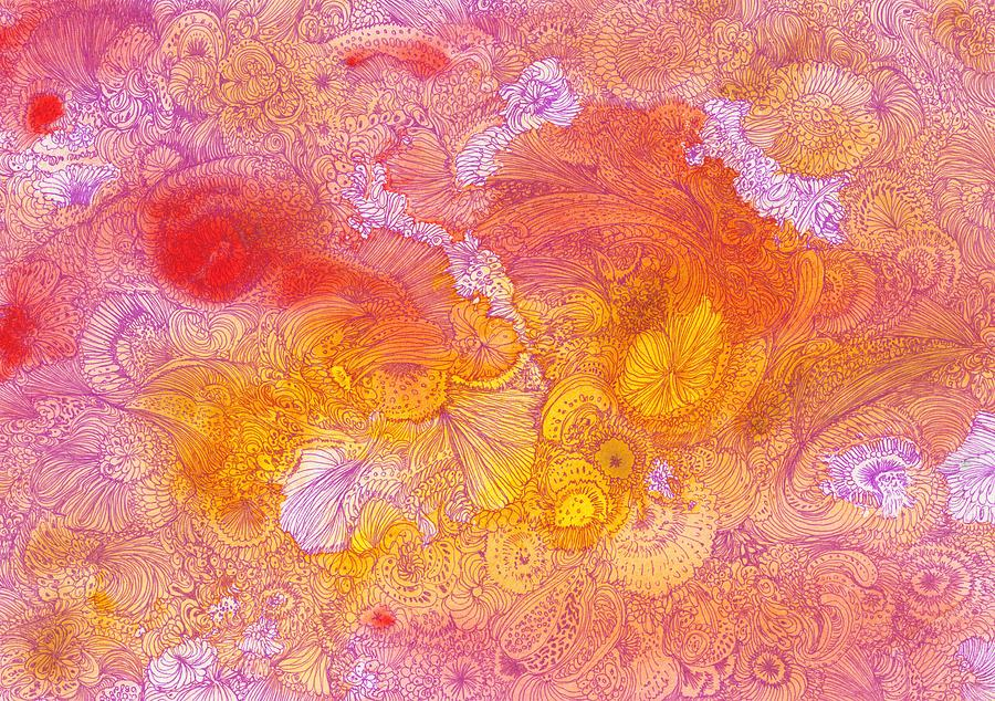 Flower Drawing - Garden - #ss14dw085 by Satomi Sugimoto