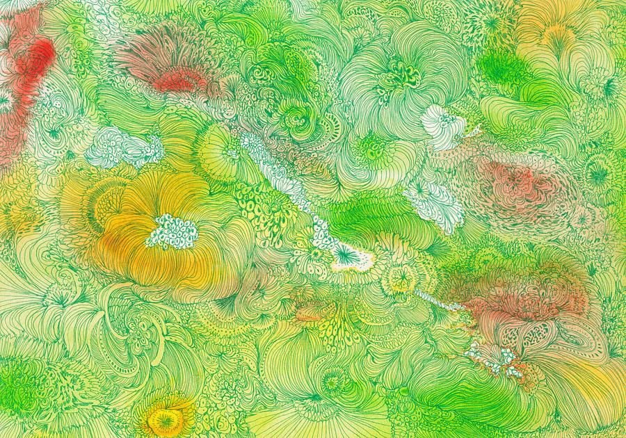 Flower Drawing - Garden - #ss14dw087 by Satomi Sugimoto
