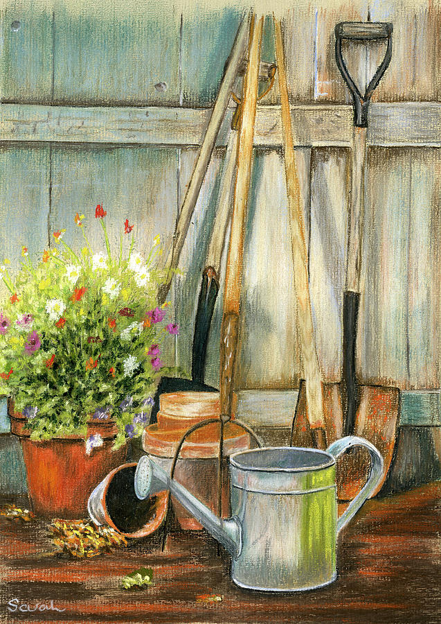 Garden Tools And Planter Painting By Sarah Dowson