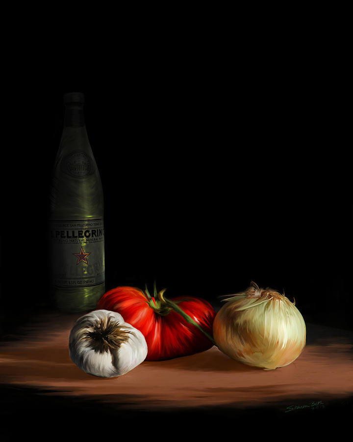 Garden Vegetables with Pellegrino by Sharon Beth