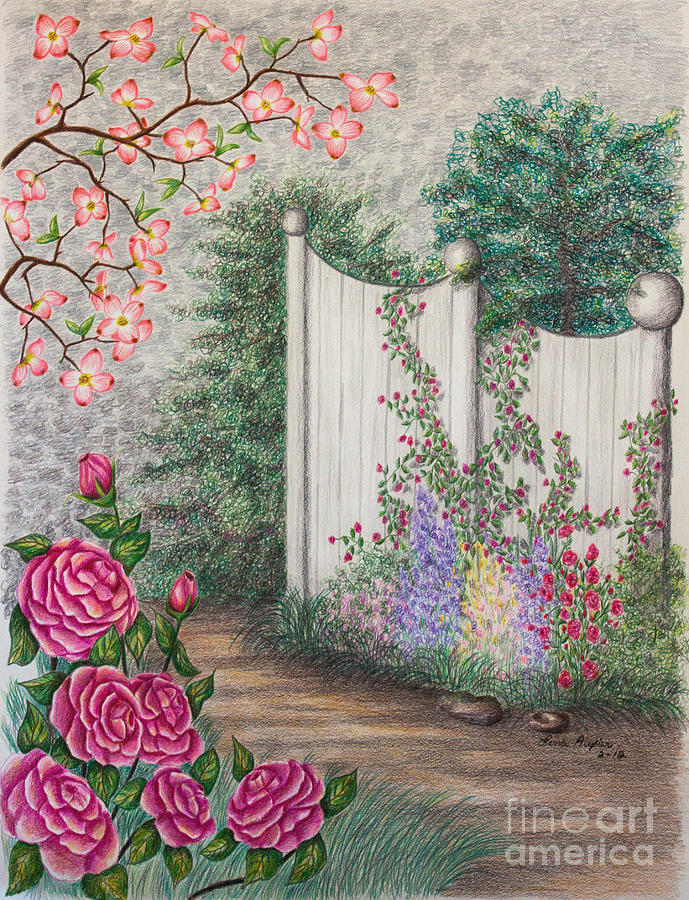 Roses Drawing - Garden Walkway by Lena Auxier