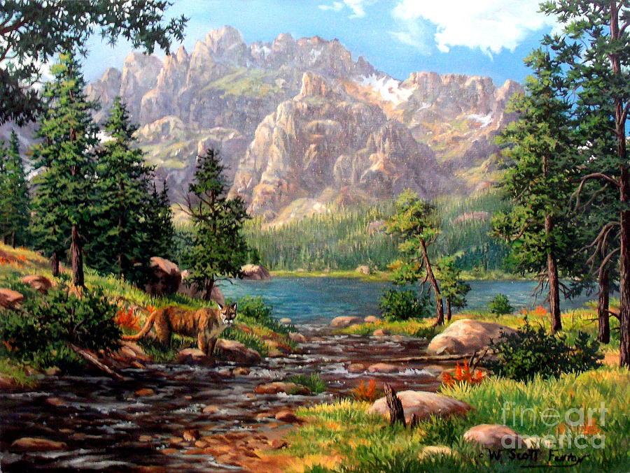 Mountains Painting - Garden Wall by W  Scott Fenton