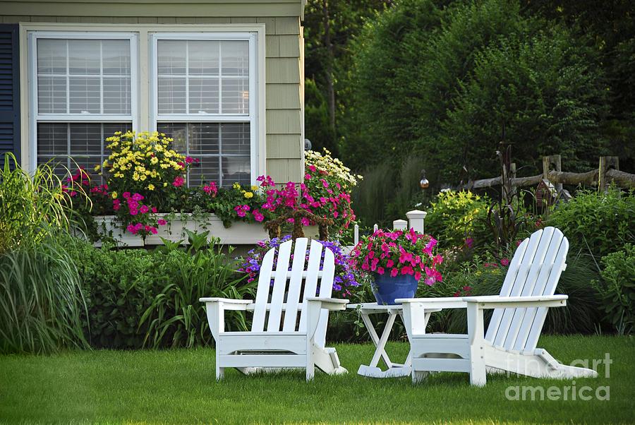 Garden Photograph - Garden With Lawn Chairs by Elena Elisseeva