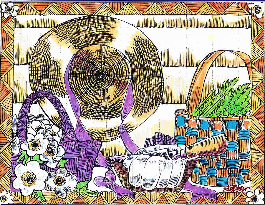Spring Drawing - Gardeners Basket by Seth Weaver
