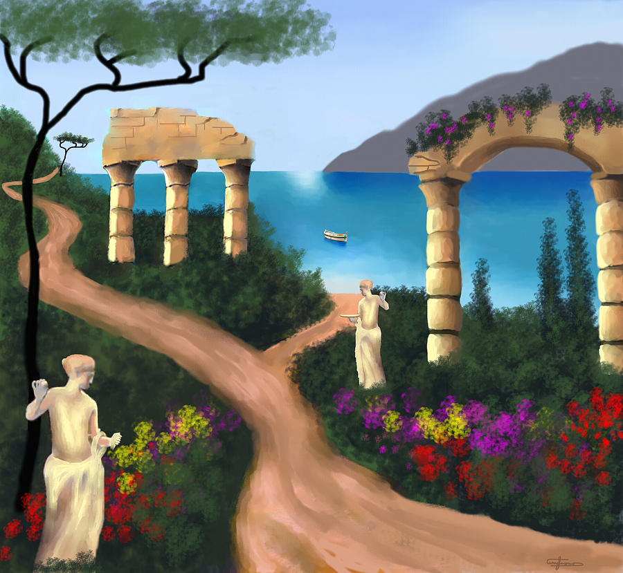 Gardens Painting - Gardens Of Venus by Larry Cirigliano