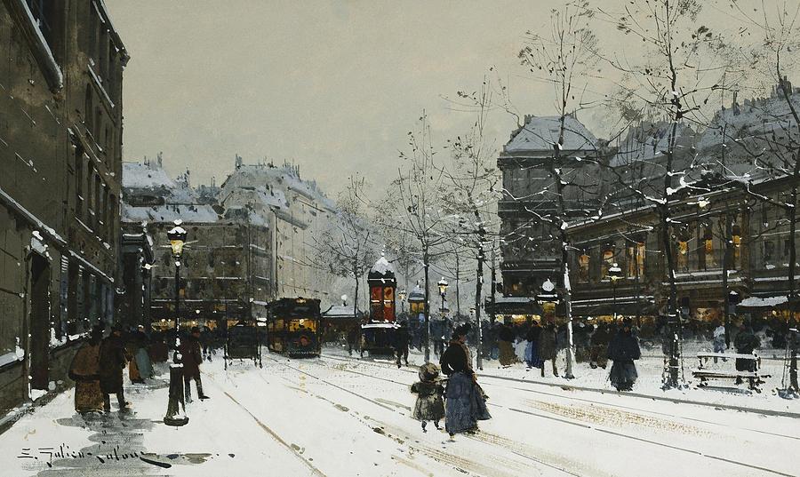 Child Painting - Gare Du Nord Paris by Eugene Galien-Laloue